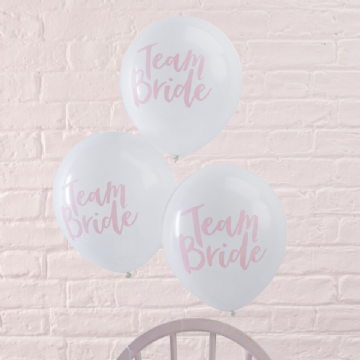 White and Pink Team Bride Balloons - pack of 10